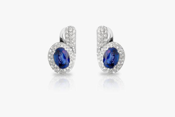 Boucles Oreilles Saphir Diamants Pave Or Blanc Tourbillon Joaillerie Degreef