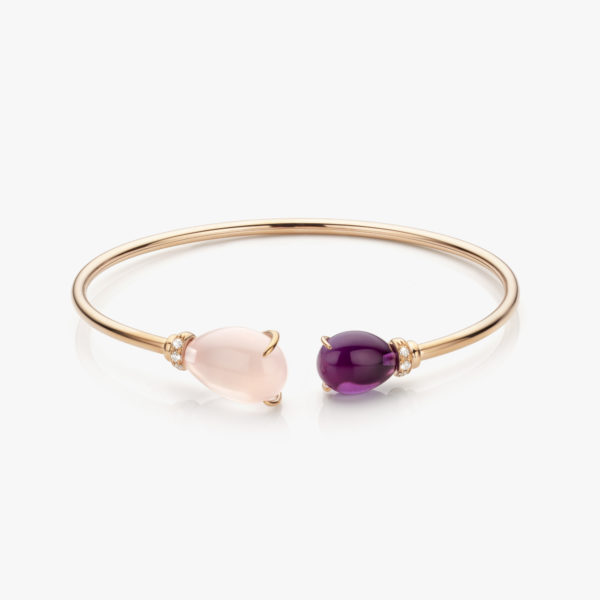 Rose gold bracelet set with pink quartz, amethyst and brilliants