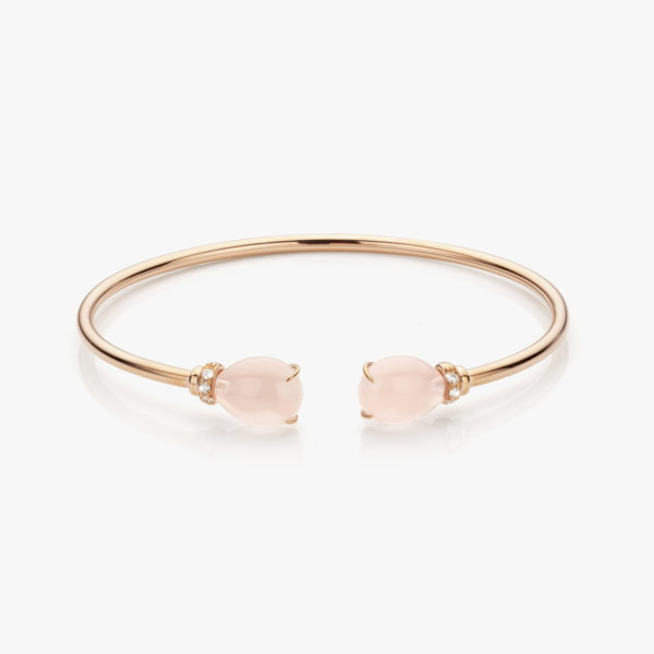 Rose gold bracelet set with pink quartz and brilliants