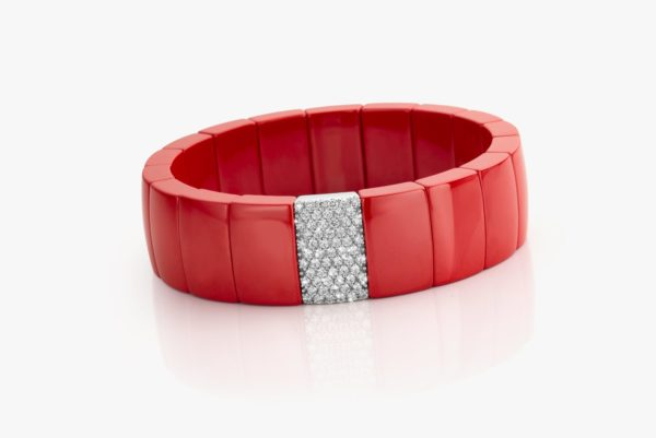Coral ceramic, white gold and diamond bracelet