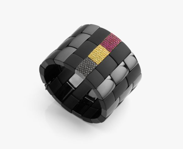 Black ceramic bracelet, with rubies, black diamonds and yellow sapphires