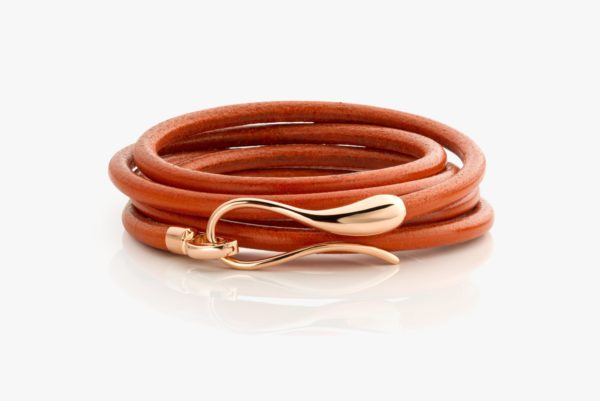 Orange leather bracelet with rose gold clasp