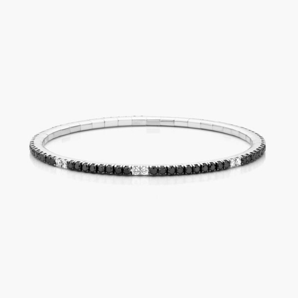 Bracelet en or blanc ((Extensible)) serti de brillants noirs et blancs