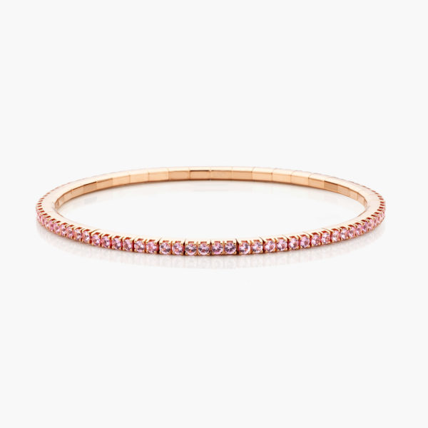 Rose gold bracelet ((Extensible)) set with pink sapphires