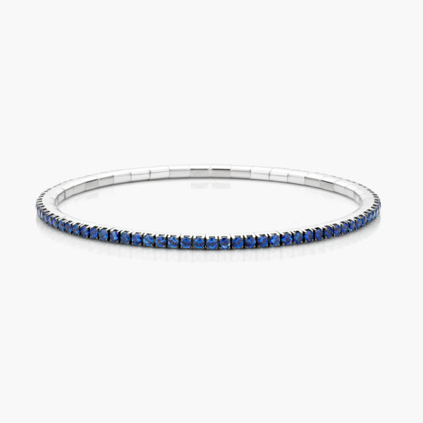 White gold bracelet ((Extensible)) set with blue sapphires