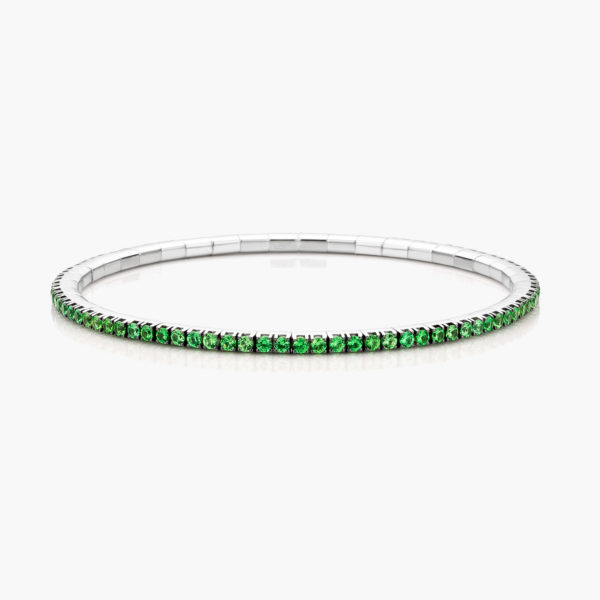 White gold bracelet ((Extensible)) set with tsavorites