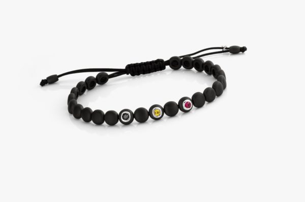 Bracelet Galet Ceramique Rubis Saphirs Jaunes Diamants Noirs Designed For Men Joaillerie Degreef