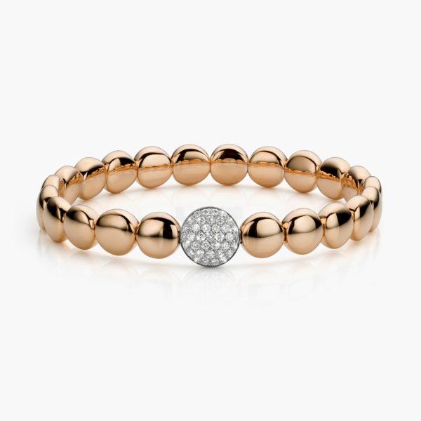 Bracelet Gold Ceramic Or Rose Rond Diamants Brillants Maison De Greef 1848