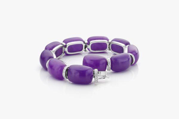 Bracelet Jadeite Diamants Or Blanc Cabochon Joaillerie Degreef