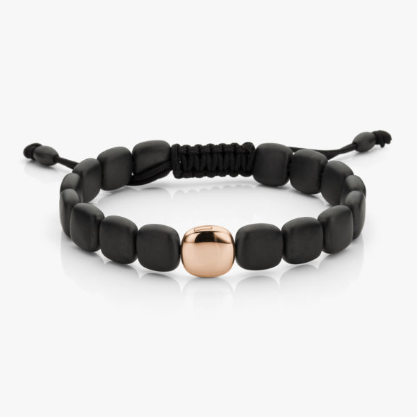 Bracelet Large Black Ceramique Rose Gold Men Jewellery Degreef1848