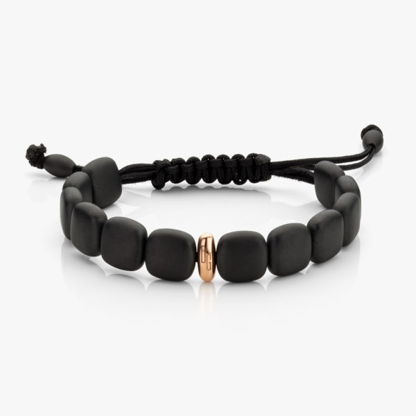 Bracelet in black ceramic and rose gold