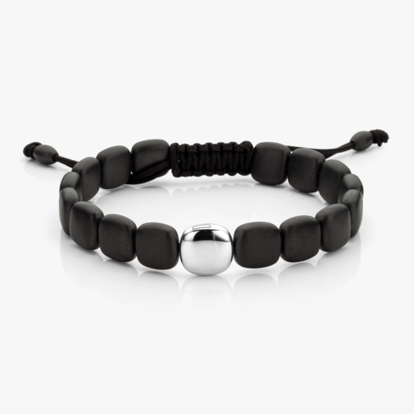 Bracelet Men Black Ceramic White Gold Big Element Maison De Greef 1848