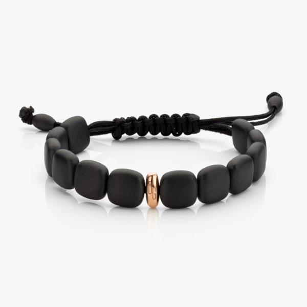 Bracelet en céramique noire et or rose