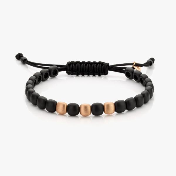 Bracelet en céramique noir et or rose