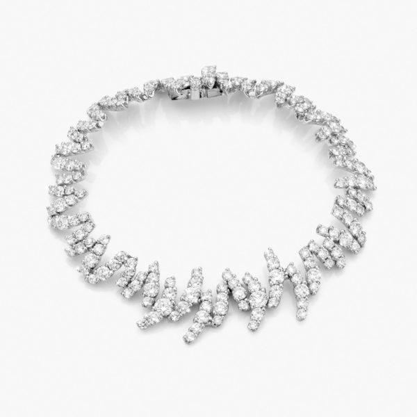Bracelet Or Blanc Diamants Brillants Zigzag Joaillerie Diamonds Maison De Greef 1848