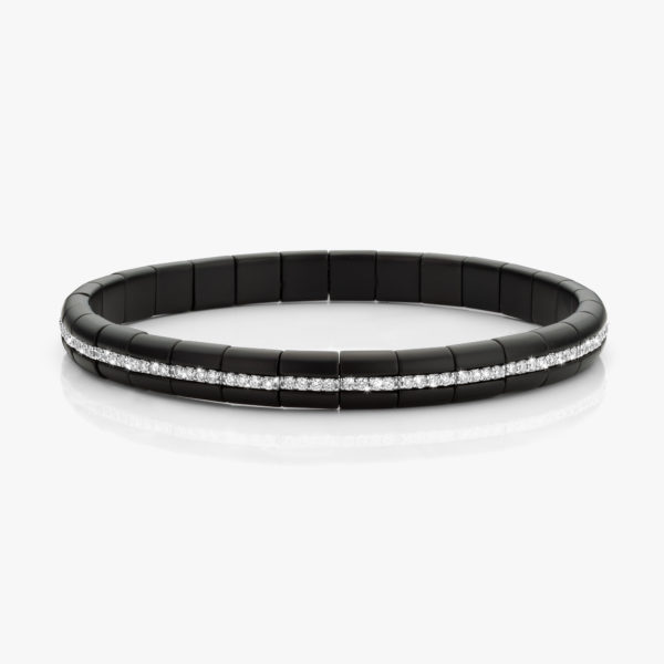 Bracelet ((Pura)) in black ceramic and white gold, set with brilliants