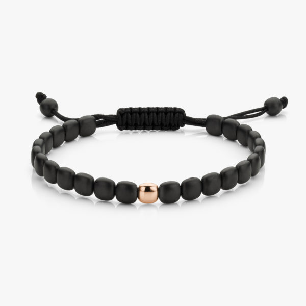 Bracelet Thin Black Ceramic One Rose Gold Men Jewellery Degreef1848