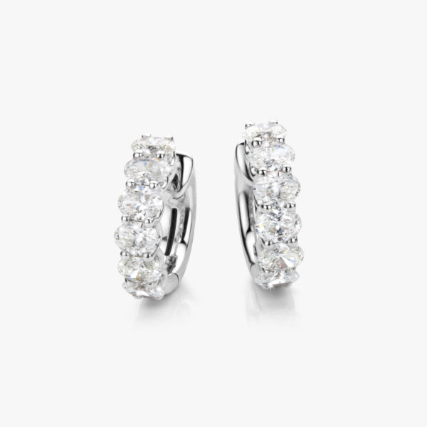 Earrings Diamonds White Gold Diamonds Oval Hoops Maison De Greef 1848