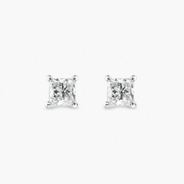 Earrings Diamonds White Gold Diamonds Solitaire Princess Jewellery Maison De Greef 1848