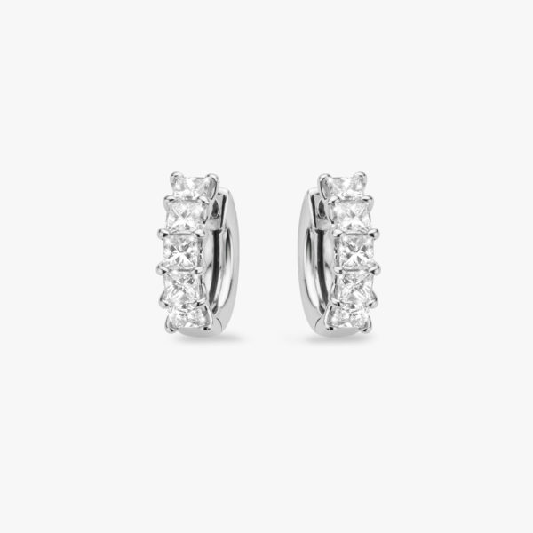 Earrings Diamonds White Gold Princess Shaped Hoops Maison De Greef 1848
