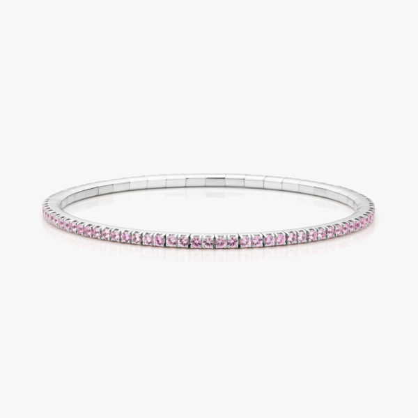 White gold bracelet ((Extensible)) set with pink sapphires