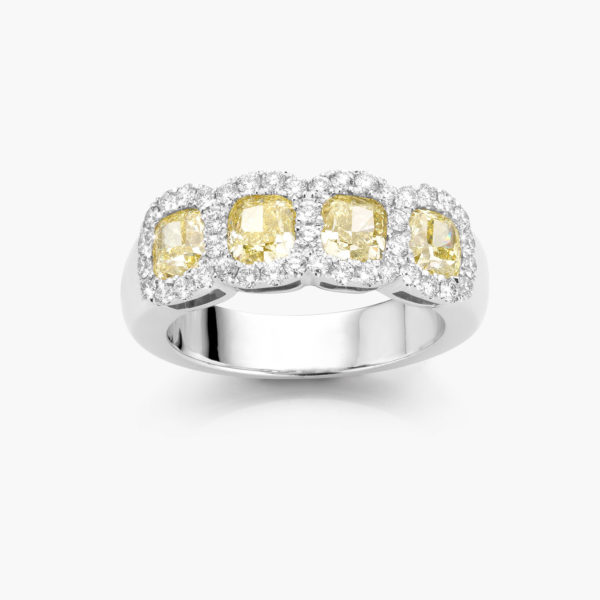 White gold ring ((Fancy Yellow)) set with cushion shaped yellow diamonds and brilliants