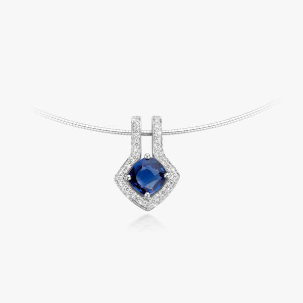 Witgouden hanger gezet met een blauwe saffier en briljanten