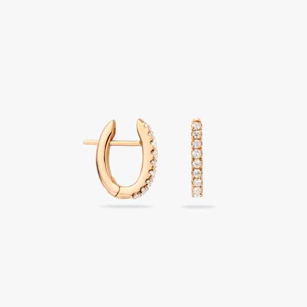 Rose gold earrings ((Linea Pura)) set with brilliants