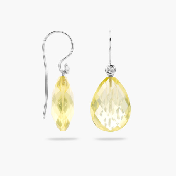 White gold earrings ((Mix'Match)) set with brilliants and citrine pendants