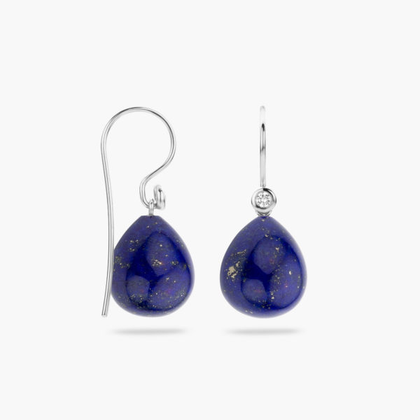 White gold earrings ((Mix'Match)) set with brilliants and lapis lazuli pendants