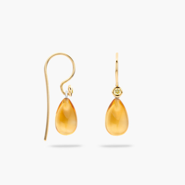 Yellow gold earrings ((Mix'Match)) set with yellow brilliants and citrine pendants