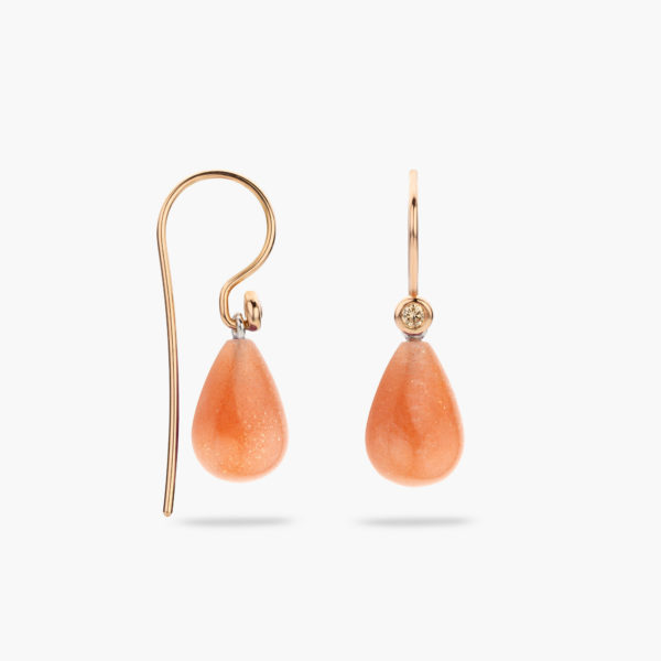 Rose gold earrings ((Mix'Match)) set with brown brilliants and sunstone pendants