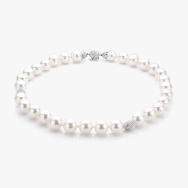 Necklace of ((South Sea)) pearls with white gold elements and clasp, set with brilliants