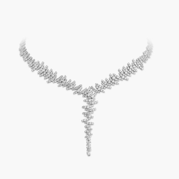 Necklace White Gold Diamonds Brilliants Zigzag Jewellery Diamonds Maison De Greef 1848