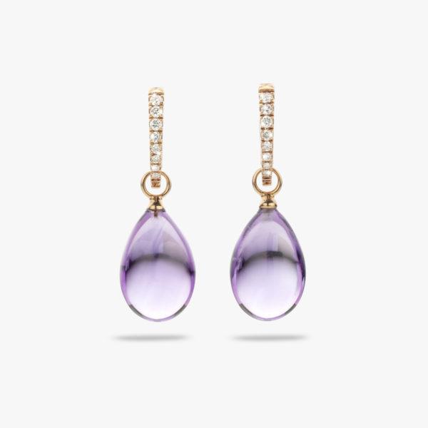 Oorbellen Cabochon Rood Goud Amethist Diamanten Briljanten Juwelen Maison De Greef 1848