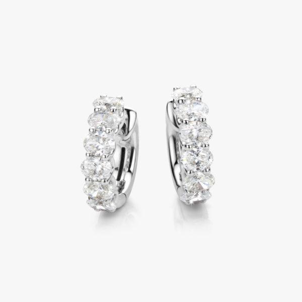 Oorbellen Diamonds Wit Goud Diamanten Ovaal Creolen Maison De Greef 1848
