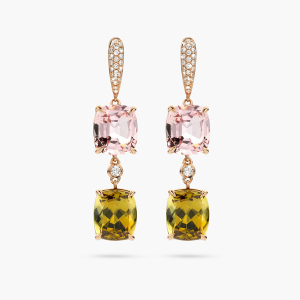 Rose gold earrings set with pink morganite, green garnet and brilliants