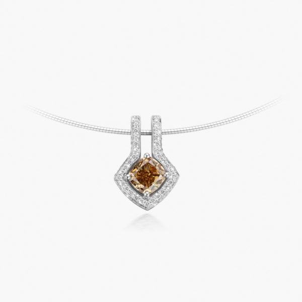Pendant Diamonds Entourage White Gold Diamant Brown Fancy Jewellery Maison De Greef 1848