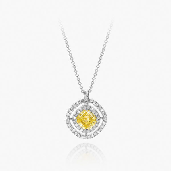 Pendant Diamonds Entourage White Gold Diamonds Yellow Fancy Intense Jewellery Maison De Greef 1848