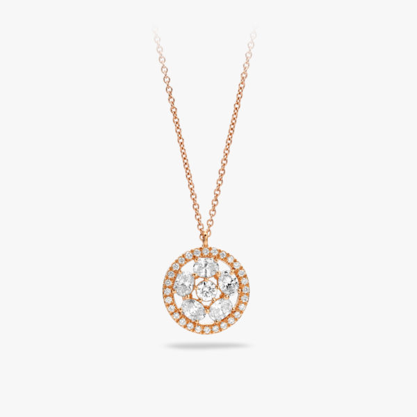 Rose gold pendant set with brilliants