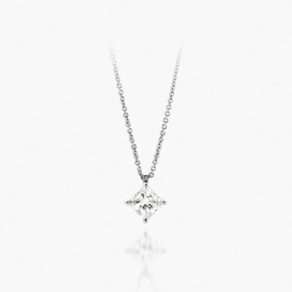 Pendant Diamonds White Gold Diamonds Solitaire Princess Jewellery Maison De Greef 1848