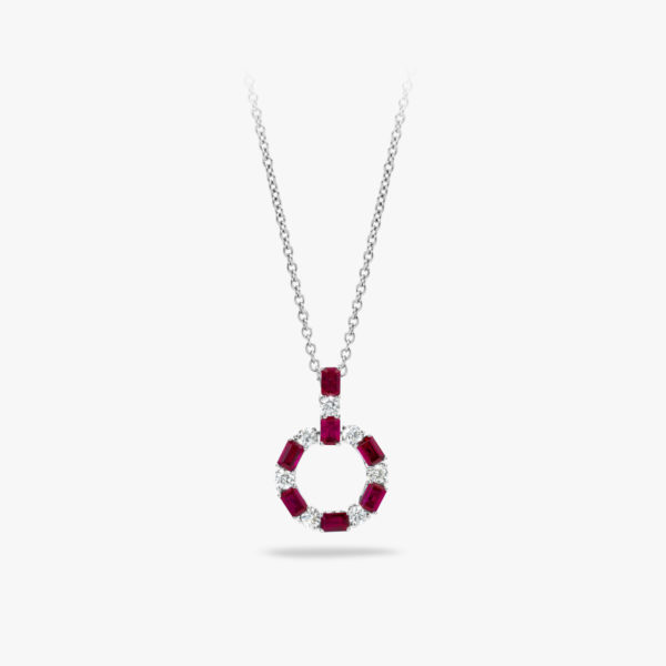 Pendant Precious Necklace White Gold Rubyen Diamonds Brilliants Maison De Greef 1848