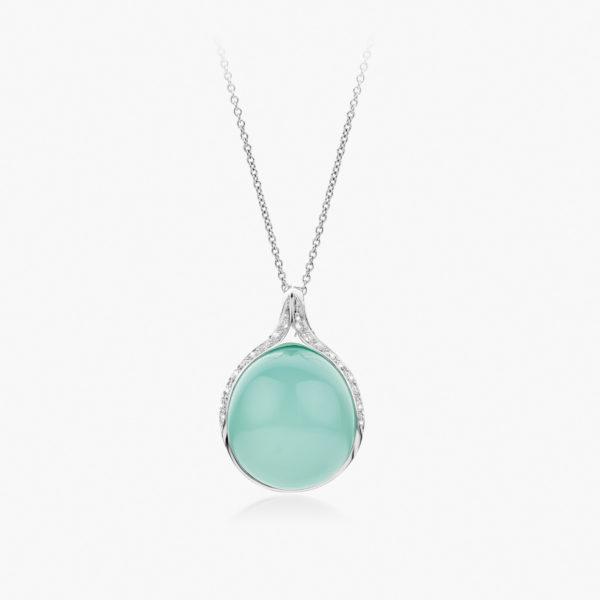 Pendentif Cabochon Or Blanc Calcedoine Verte Diamants Joaillerie Maison De Greef 1848