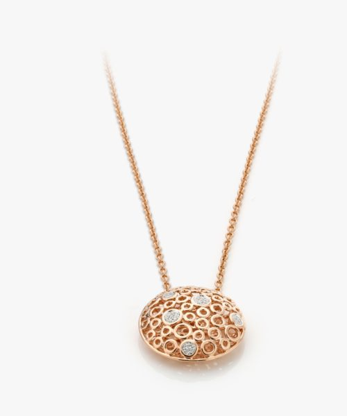 Pendentif Diamants Or Rose Lace Gold Joaillerie Degreef