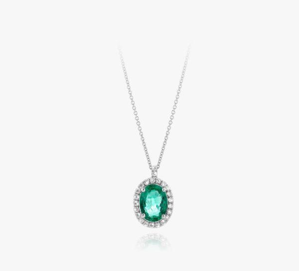 Pendentif Emeraude Diamants Or Blanc Entourage Joaillerie Degreef