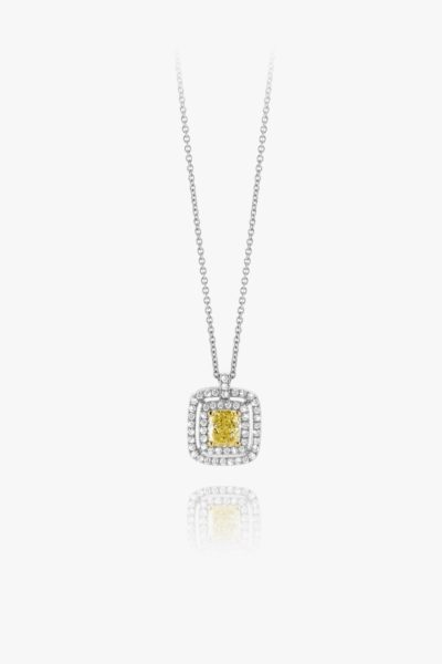 Pendentif Fancy Yellow Antique Diamants Or Blanc Entourage Fiancailles Joaillerie Degreef