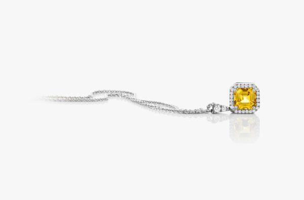 Pendentif Saphir Jaune Diamants Or Blanc Entourage Joaillerie Degreef