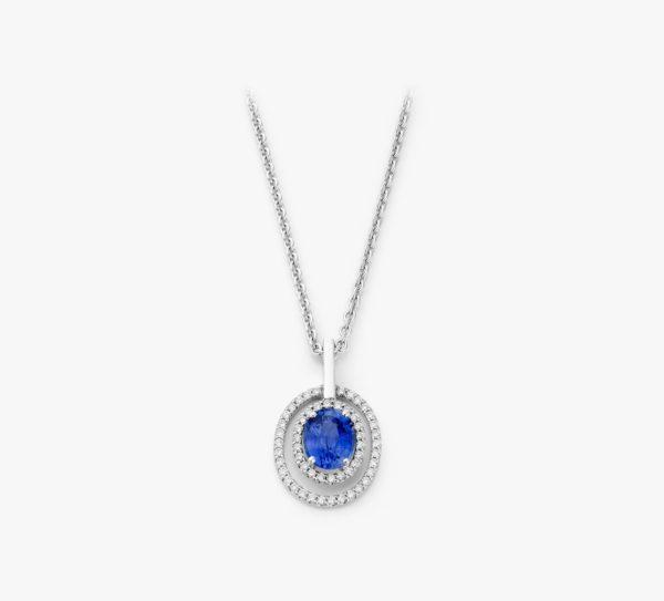 Pendentif Saphir Ovale Diamants Or Blanc Entourage Joaillerie Degreef