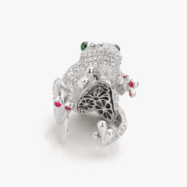 White gold ring and pendant ((Rana)) set with brilliants, tsavorites, rubies and black brilliants