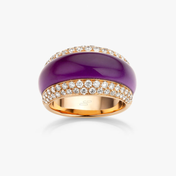 Ring Cabochon Links Rose Gold Amethyst Purple Diamonds Jewellery Maison De Greef 1848